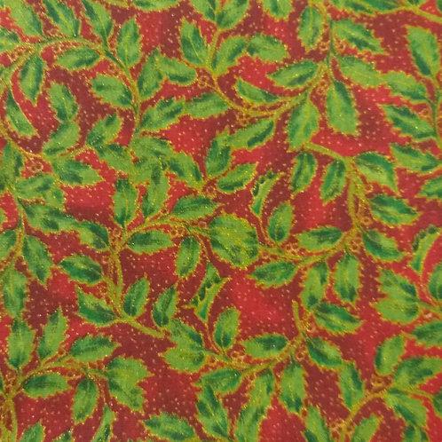 Tecido Natal -fundo vermelho - folhas e dourado