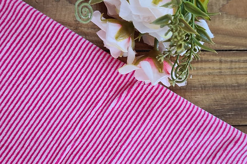Plush listra fina  rosa flor e branco