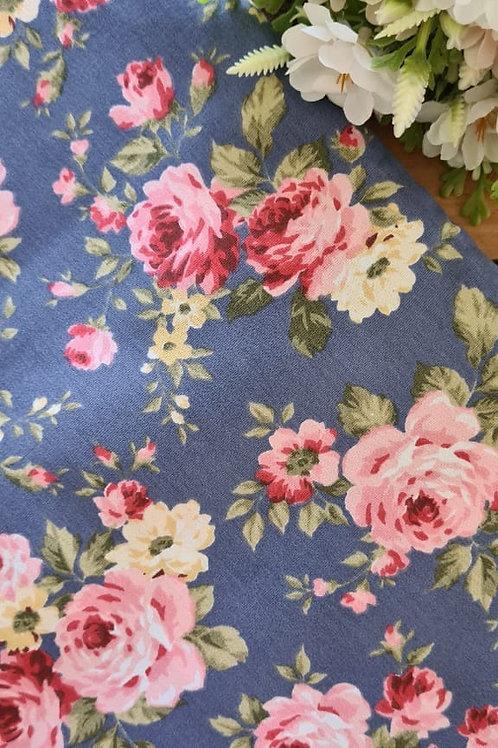 Tecido Floral Rosas g Azul Noite - 09913