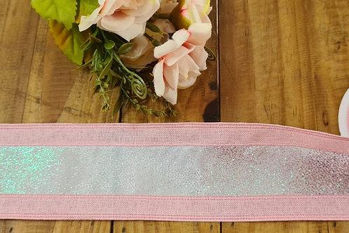 Fita rosa rústico e gliter 6 cm