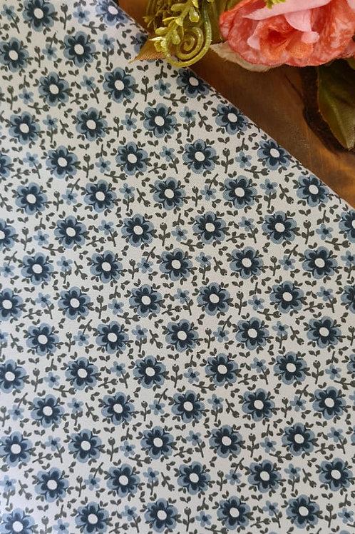 Tecido azul vintage florido