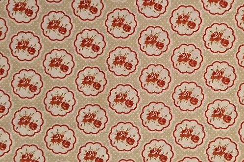 Tecido Vintage Creme e Vermelho