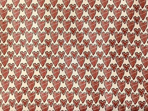 Tecido Coração Vermelho Queimado Anne