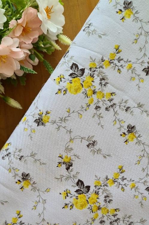 Tecido Floral Delicada -  Amarelo
