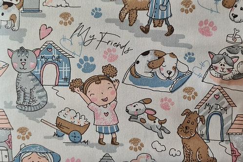 Tecido Amiguinhos - Azul e rosa bb