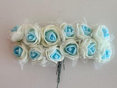 Flor - Creme com azul suave