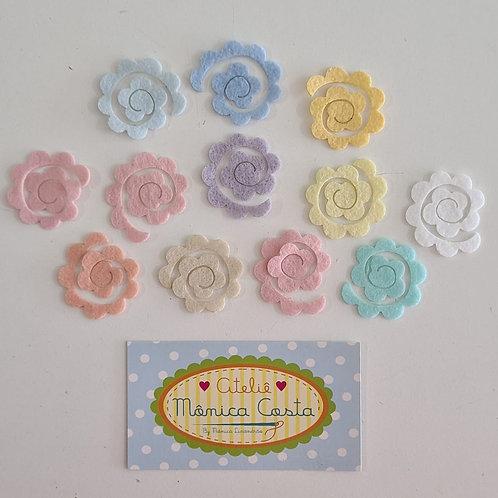 Rosa Aspiral Feltro Aplique 3,5 cm