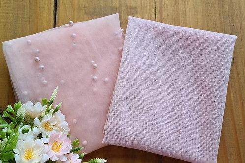 Compose Tule Pérola rosa e Gliter rosa