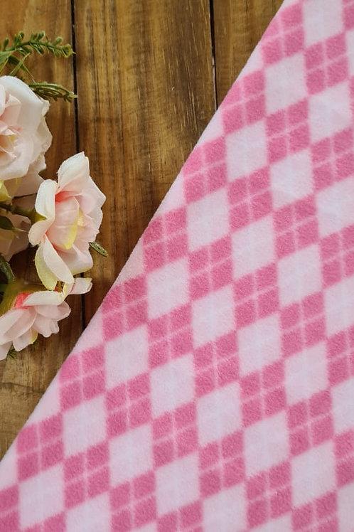 Micro soft losango rosa e rosa chiclete