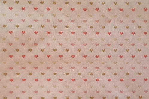 Tecido Coração Rosa Baby + Verde antigo