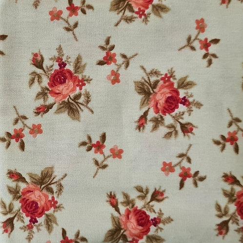 Tecido Romance Rosas - Vermelho Queimado