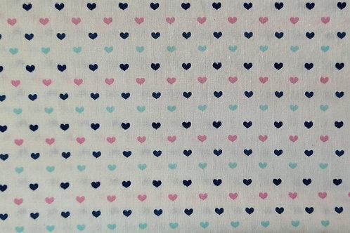 Tecido Coração - Rosa e Azuis