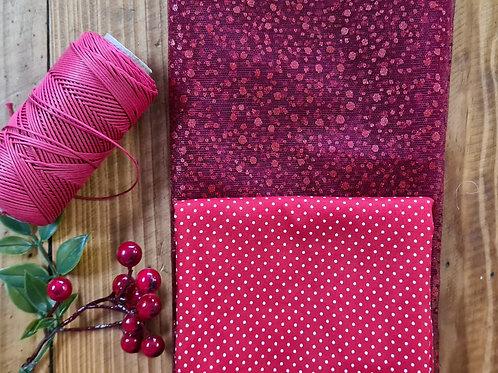 kit Tule Gliter Vermelho +Poá + Cordão Algodão Vermelho