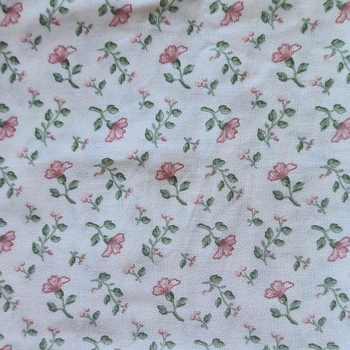 Tecido Floral Rosa Baby - fundo creme
