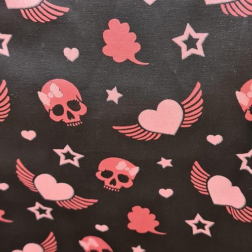Tecido Textura Caveira preta e rosa