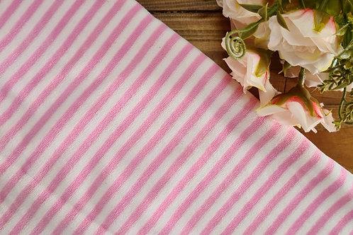 Plush listra média rosa chiclete  e branco