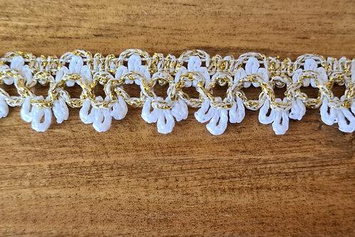 Rendas coloridas Dourado+Branco