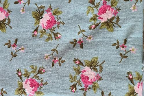 Tecido Floral Turquesa