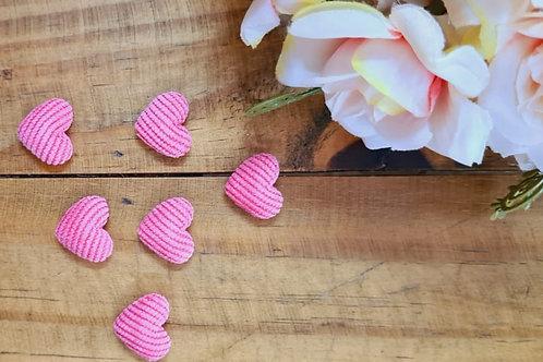 Botão Coração encapado Rosa Ciclete