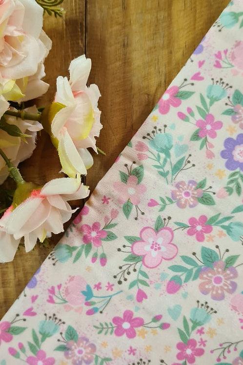 Tecido Digital Flores Creme