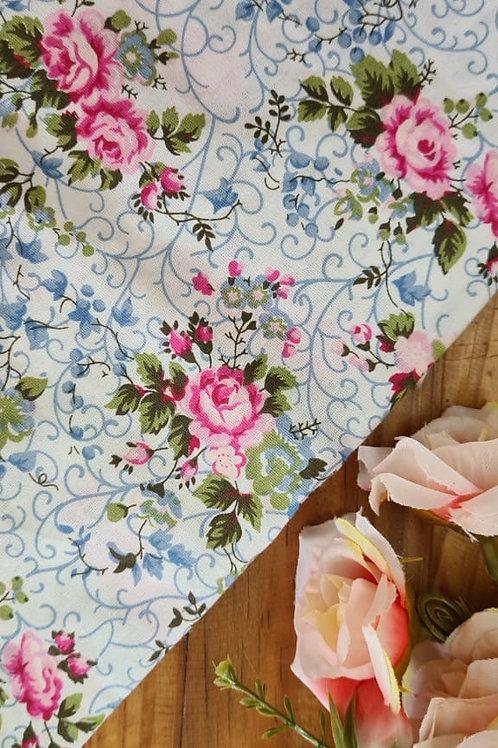 Tecido Love - Rosa e azul