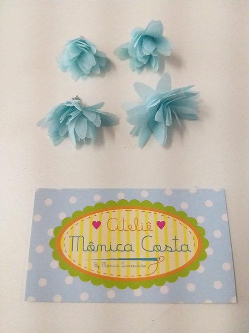 Flor média pingente organza azul