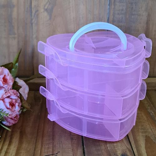 Maleta organizadora coracao rosa