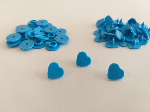 Botão Coração Pressão Azul