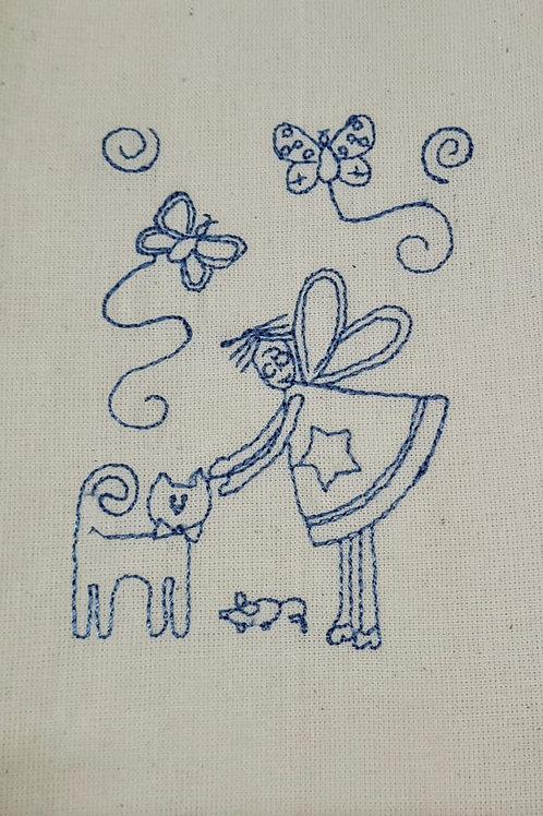 Tecido bordado mod 14 Azul