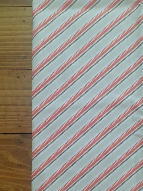 tecido Listra  Laranja e Creme diagonal