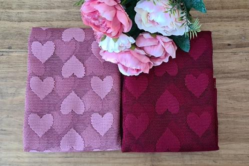 Kit Tule Coração Outono - Rosa Queimado e Bordo