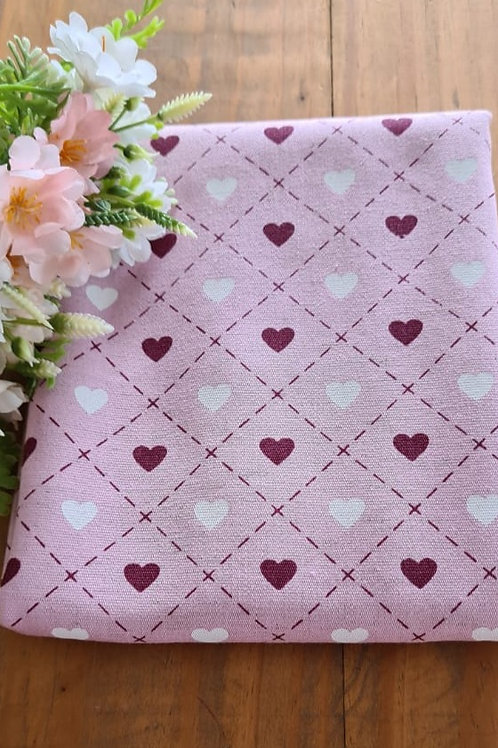 Tecido Linho Corações - Rosa e Bordo
