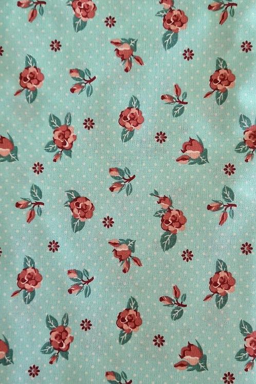 Tecido Floral - tiffany