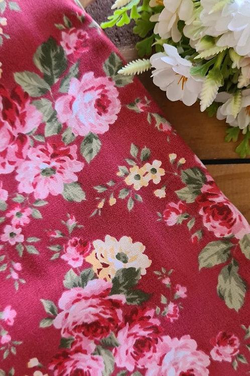 Tecido Floral Rosas g Marsala - 09909