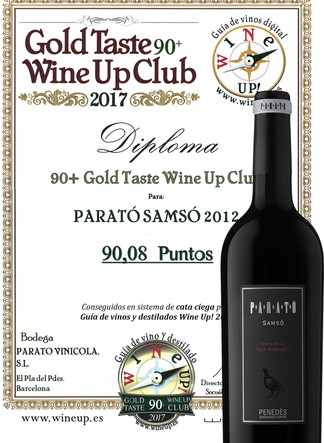 Samsó 2012: Mention awarded with the Gold Taste Wine Up 90+ Club 2017