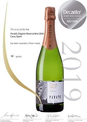 Decanter-World Wine Awards-Medalla d'Argent Cava Parató Brut Reserva Ecològic