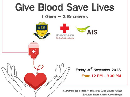 Blood Donation 1 Giver = 3 Receiver - Friday 30th November 2018