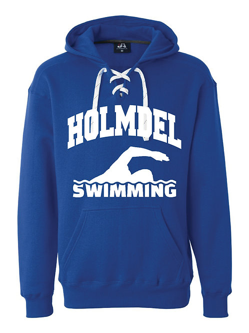 Lace Up Pullover Hoodie -SWIMMER