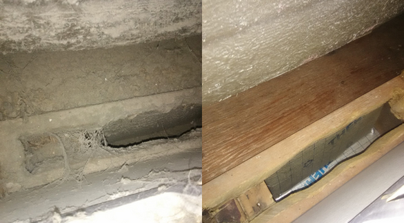 Cold Air Return Ducts Before & After Cleaning