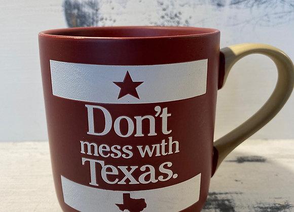 Don't Mess With Texas Burgundy Mug