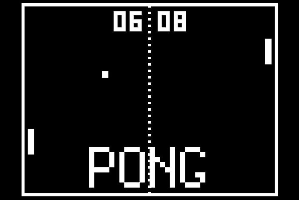 Pong, jogo para arcade criado por Bushnell na Atari 1973