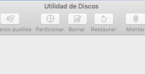 No aparece la opción para formatear el disco con esquema GUID en Utilidad de discos MacOS Mojave