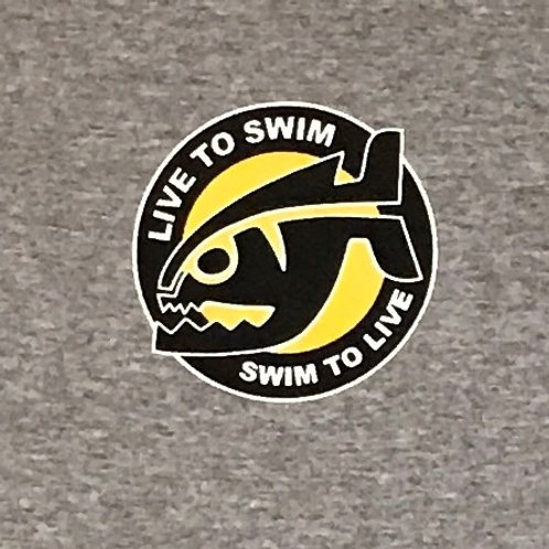 Swim To Live-Grey Piranha T-Shirt
