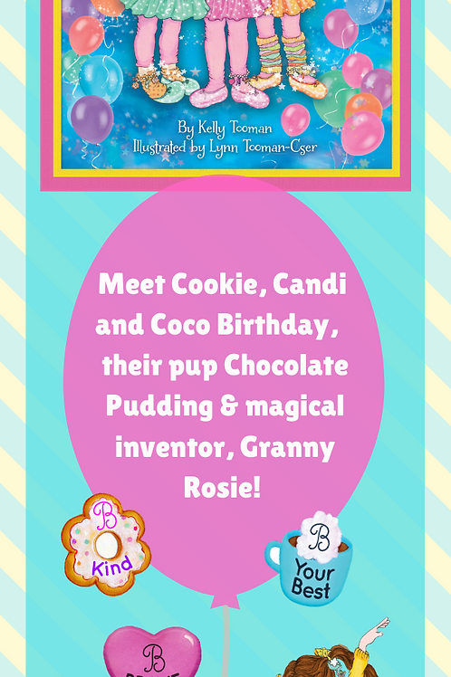 The Birthday Triplets and Chocolate Pudding Bookmark-Free with Book Purchase