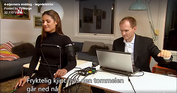 Ørjan Hesjedal utfører løgndetektortest på Samantha Skogrand