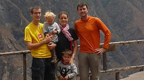 family hike in tiger leaping gorge