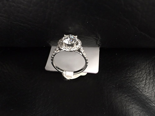 Solitaire-Ring, 18K Weissgold, Brillant (1.14ct), 29 Brillanten (0.58ct)
