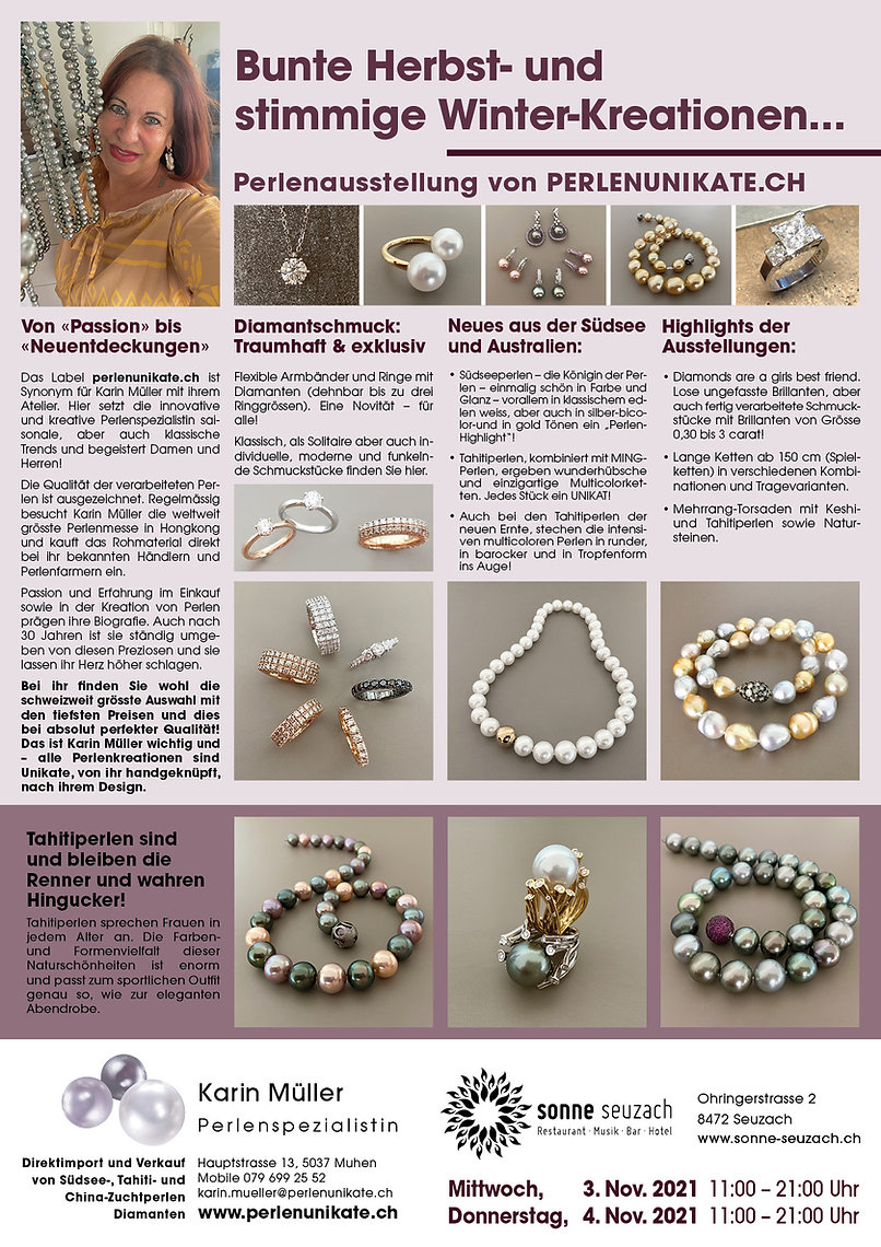 seuzach - ausstellung perlenunikate.ch karin müller - perlen und diamant schmuck