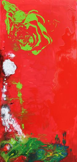 Le rane dal dardo velenoso -La rana rossa- L.60xH125- smalto su polistirene bassa ris