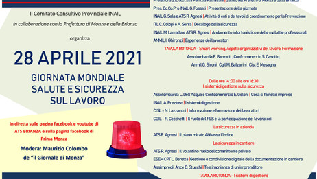 28 APRILE 2021 giornata mondiale salute e sicurezza sul lavoro